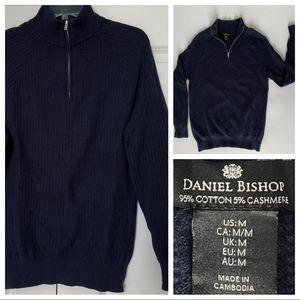 Men's M Navy Cotton Cashmere Quarter Zip Sweater